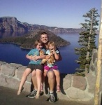 Daddy with girls at Crater Lake