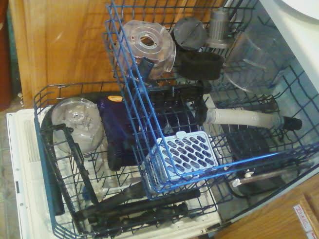 Put the smaller pieces into your cutlery basket so they don't travel around the dishwasher as they're being cleaned.